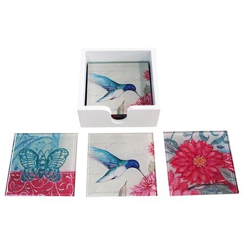 Porta-Copos Beija-Flor Azul no Jardim de Rosas - 6 Peças - em Vidro - 9x9 cm