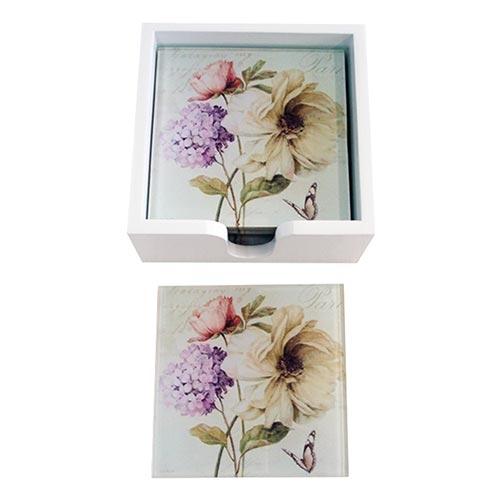 Porta-Copos Flores Vintage - 6 Peças - em Vidro - 9x9 cm