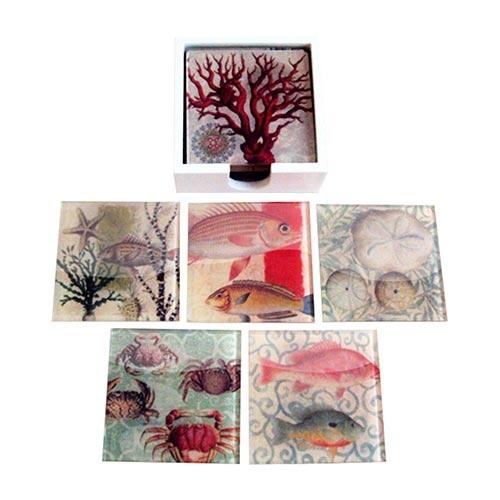 Porta-Copos Frutos do Mar Colorido - 6 Peças - em Vidro - 9x9 cm