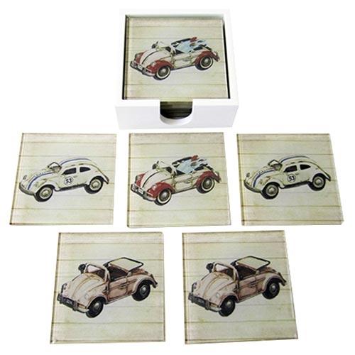Porta-Copos Fuscas Brancos - 6 Peças - em Vidro - 9x9 cm