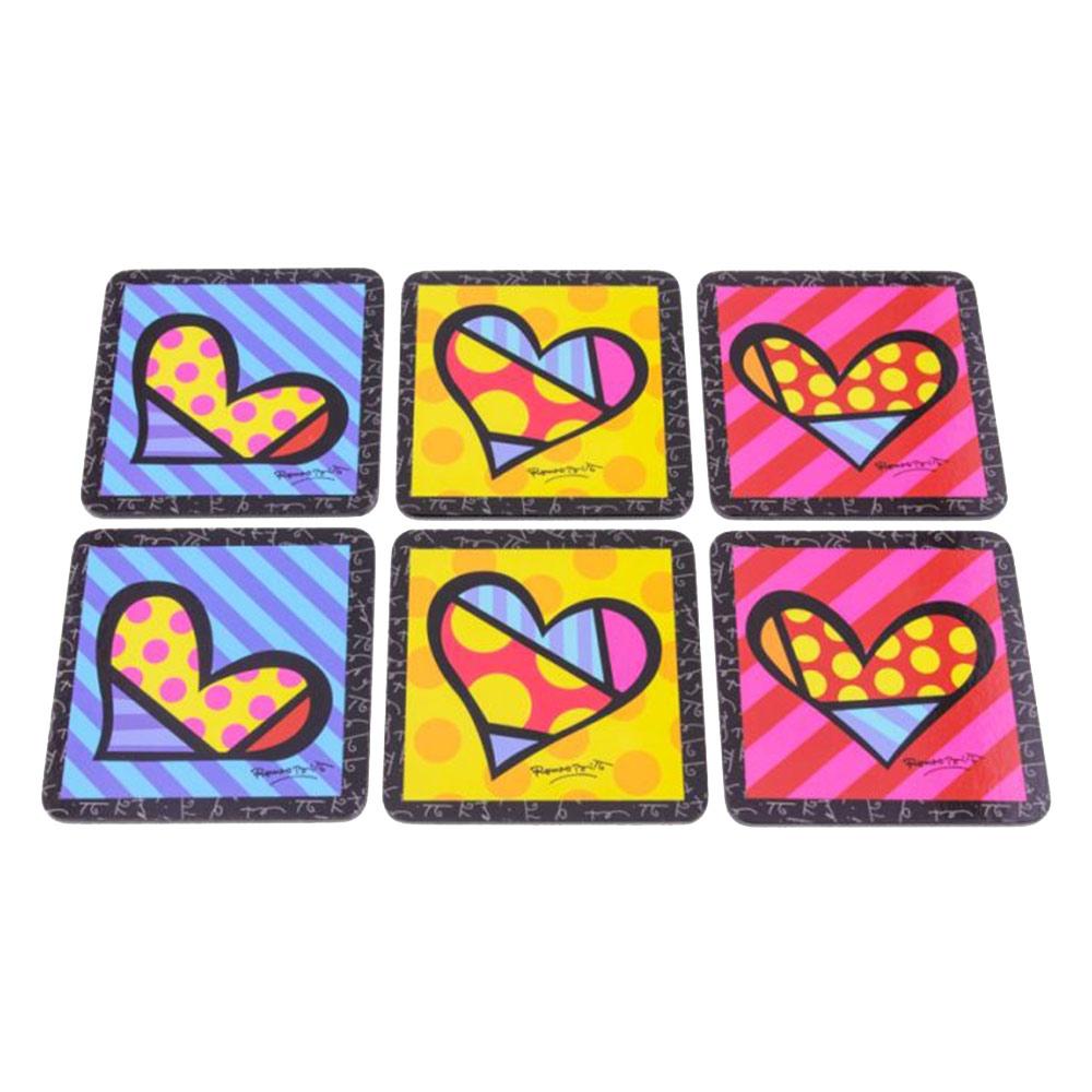 Porta-Copos Hearts Romero Britto - 6 Peças - em Madeira - 11x11 cm