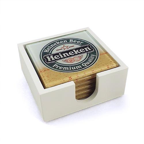 Porta-Copos Cerveja Heineken Premium Chopp - 6 Peças - em Vidro - 9x9 cm