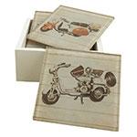 Porta-Copos Lambrettas Vermelhas/Brancas - 6 Peças - em Vidro - 9x9 cm