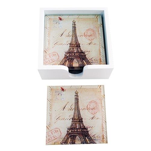 Porta-Copos Monumentos Paris Torre Eiffel - 6 Peças - em Vidro - 9x9 cm