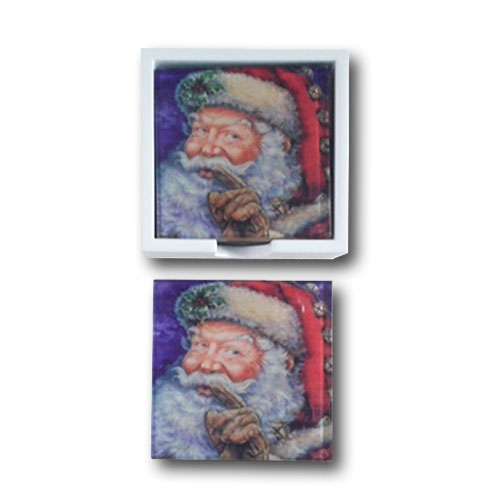 Porta-Copos Papai Noel Branco - 6 Peças - em Vidro - 9x9 cm