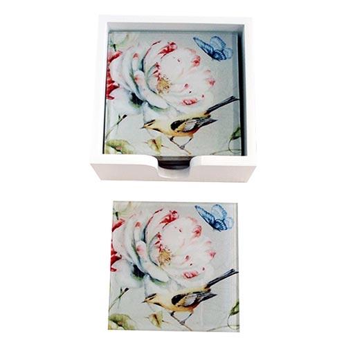 Porta-Copos Pássaro Amarelo e Flores - 6 Peças - em Vidro - 9x9 cm