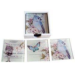 Porta-Copos Pássaro e Borboleta Azul - 6 Peças - em Vidro