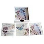 Porta-Copos Pássaro e Borboleta Azul - 6 Peças - em Vidro - 9x9 cm