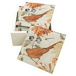 Porta-Copos Pássaro Vermelho nas Flores 6 Peças - em Vidro