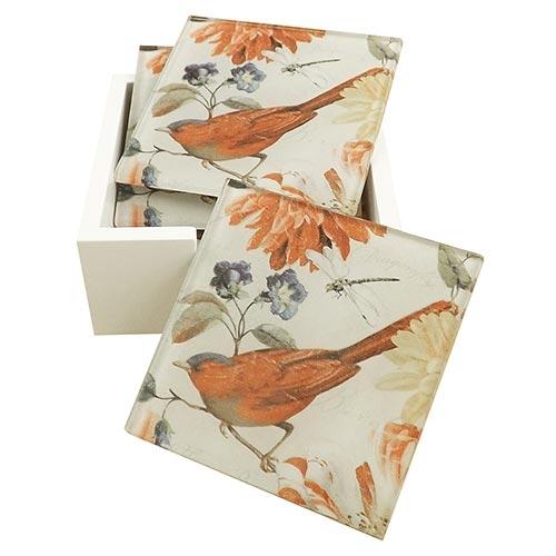 Porta-Copos Pássaro Vermelho nas Flores - 6 Peças - em Vidro - 9x9 cm