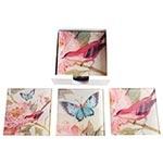 Porta-Copos Pássaro e Borboleta - 6 Peças - em Vidro - 9x9 cm