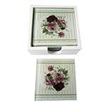 Porta-Copos Três Flores Rosas - 6 Peças - em Vidro - 9x9 cm