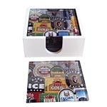 Porta-Copos Rótulos de Cerveja - 6 Peças - em Vidro - 9x9 cm