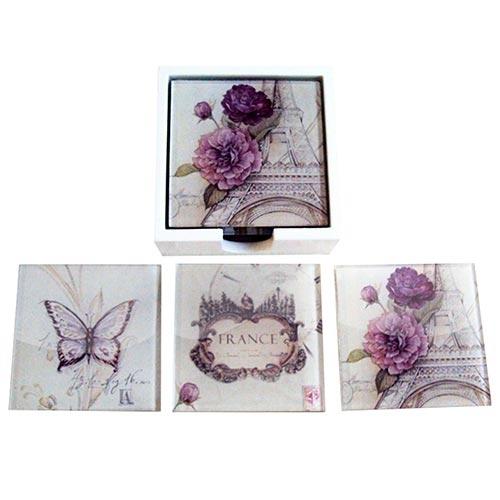 Porta-Copos Flores na Torre Eiffel Roxo e Branco - 6 Peças - em Vidro - 9x9 cm