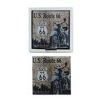 Porta-Copos US Route 66 Marrom/Azul - 6 Peças - em Vidro - 9x9 cm