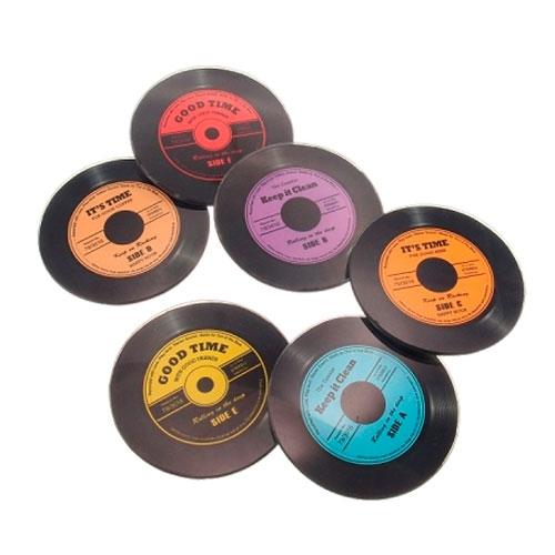 Porta-Copos Disco de Vinil Redondo - 6 Peças - em Vidro - 11x11 cm