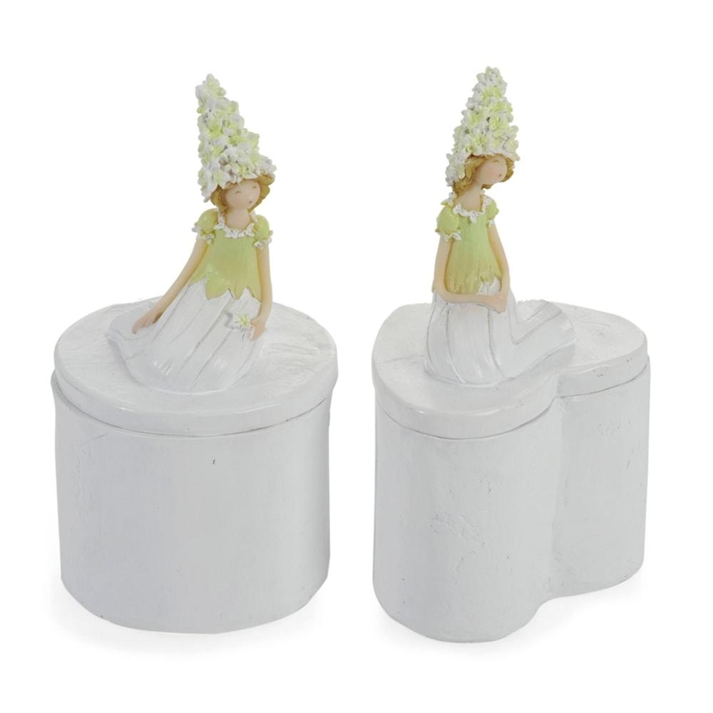 Conjunto Porta-Joias - 2 Peças - Mulher com Flores Branco em Porcelana - 14x7 cm