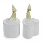 Conjunto Porta-Joias Mulher com Flores Branco em Porcelana
