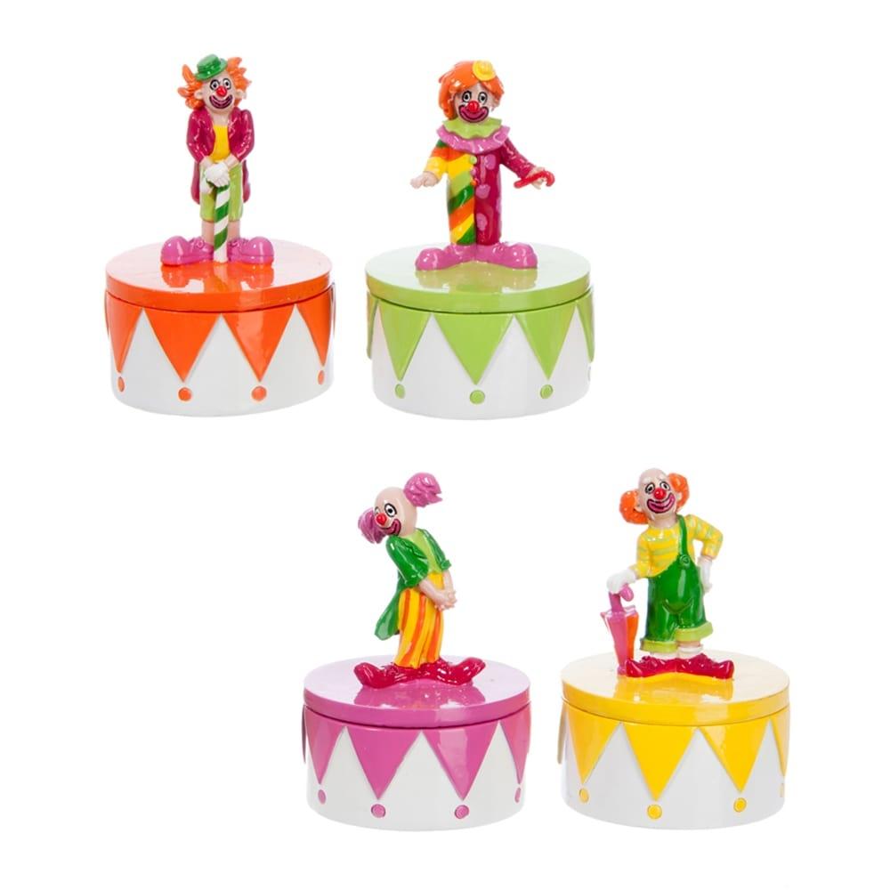 Conjunto Porta-Joias Palhaços Coloridos em Resina - 10x6 cm