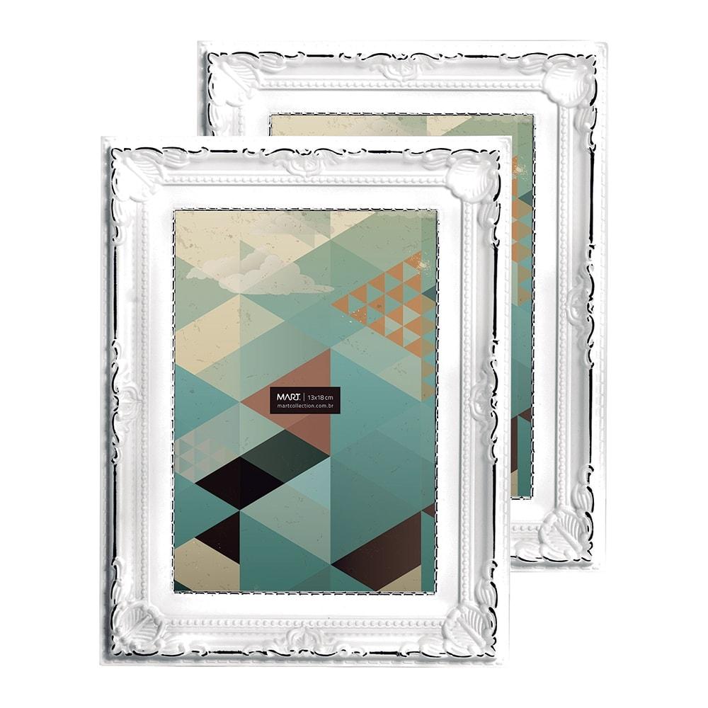Conjunto de Porta-Retratos - 2 Peças 13x18 cm - Antique Branco - 23x18 cm