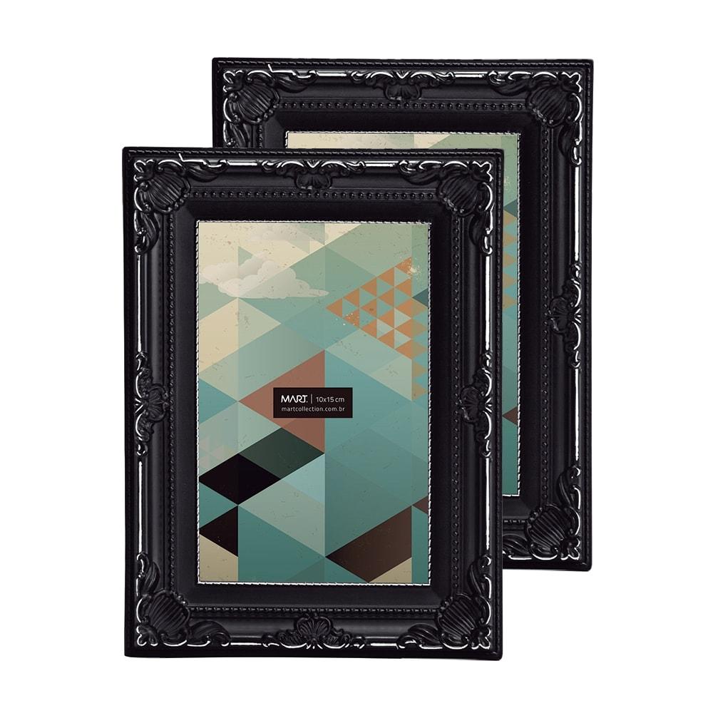 Conjunto de Porta-Retratos - 2 Peças 10x15 cm - Antique Preto - 19,5x14,5 cm