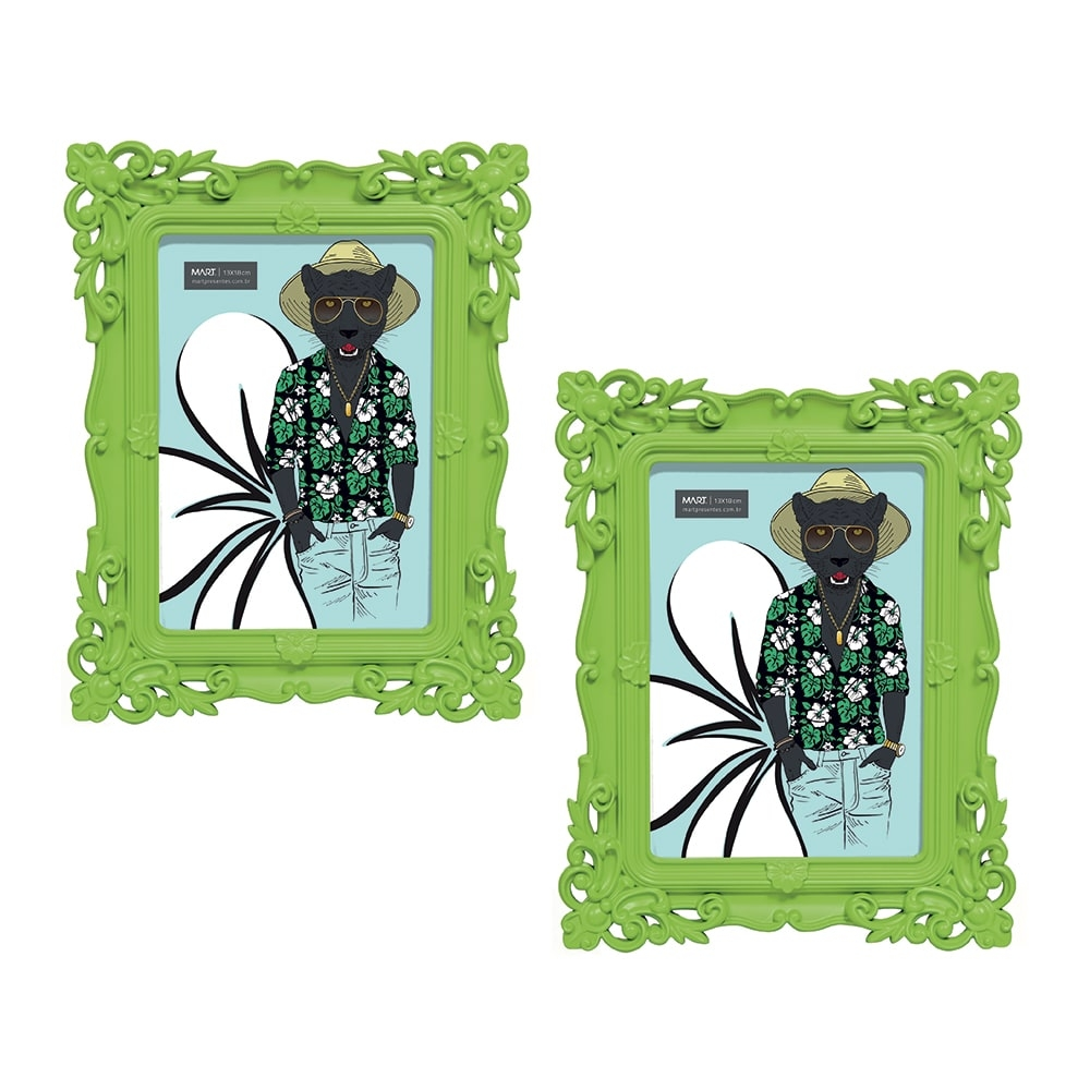 Conjunto de Porta-Retratos - 2 Peças - Foto 13x18 cm - Pop Deco Verde - 24x19 cm