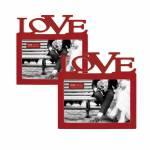 Conjunto de Porta-Retratos - 2 Peças - Love Vermelho - 17x16 cm