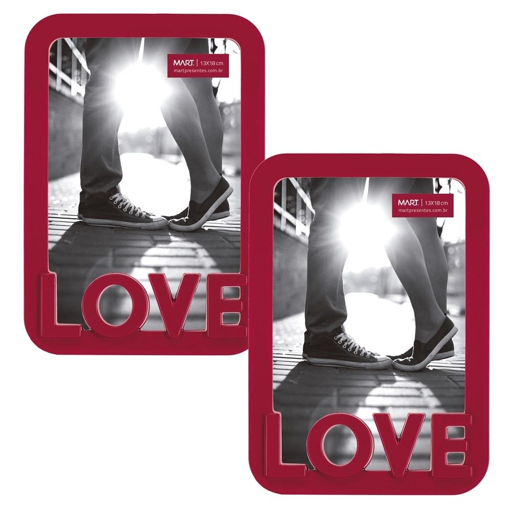 Conjunto de Porta-Retratos - 2 Peças - Foto 13x18 cm - Love Vermelho - 24,5x19 cm