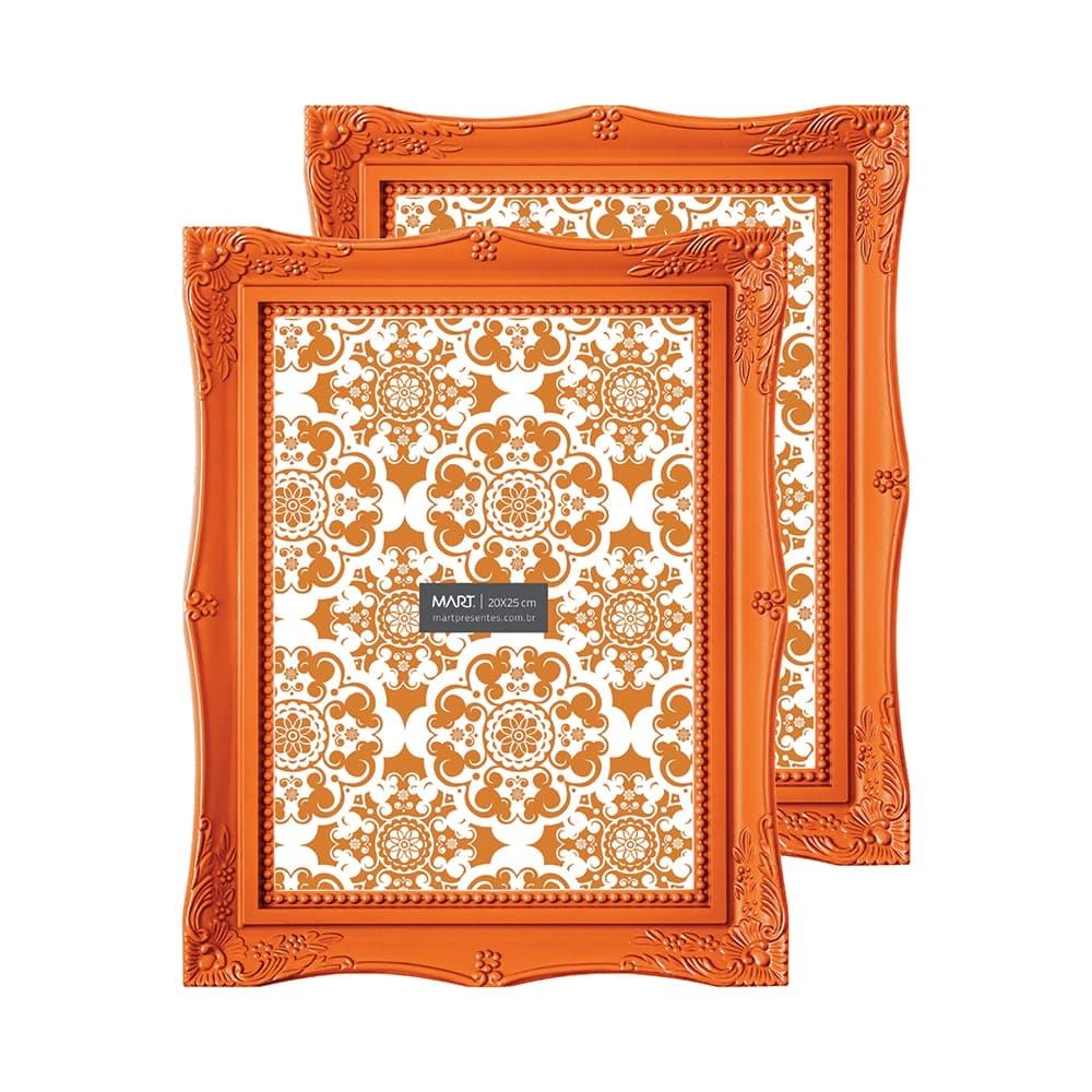Conjunto de Porta-Retratos Frame - 2 Peças - Laranja - 19,5x14,5 cm