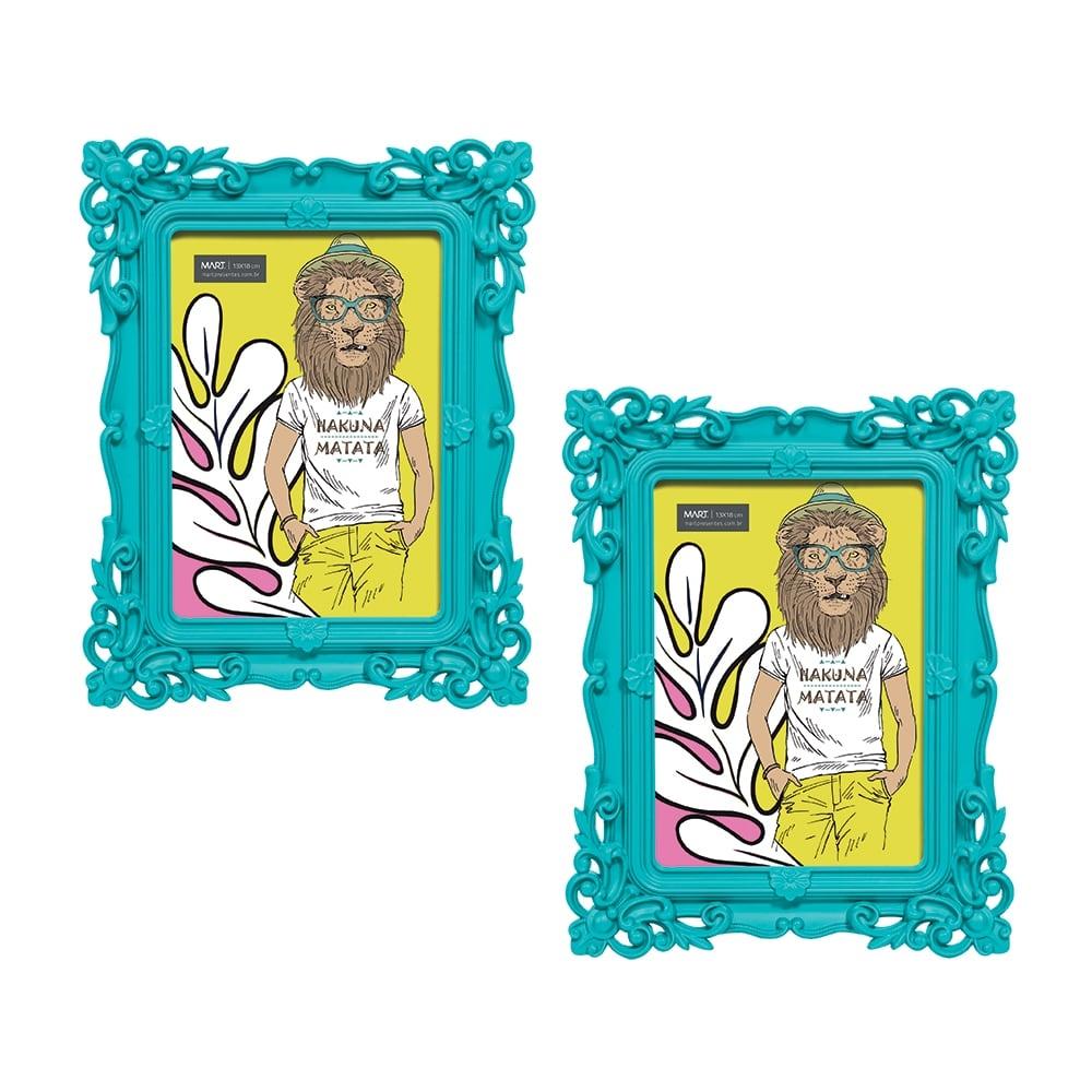 Conjunto de Porta-Retratos - 2 Peças - Foto 13x18 cm - Pop Deco Azul - 24x19 cm