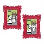 Conjunto de Porta-Retratos - 2 Peças - Foto 10x15 cm - Pop Deco Vermelho - 21,5x16,5 cm