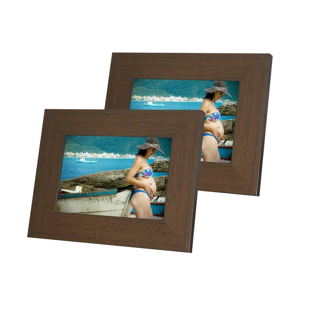 Conjunto de Porta-Retratos Rustic Marrom - 2 Peças em Madeira - 19x14,5 cm