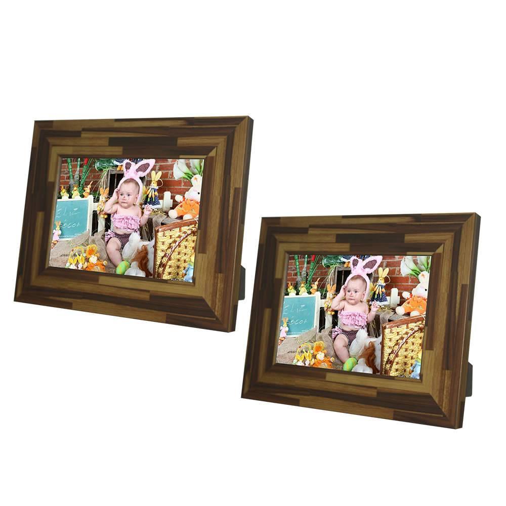 Conjunto de Porta-Retratos Rustic Teca - 2 Peças em Madeira - 19x14,5 cm