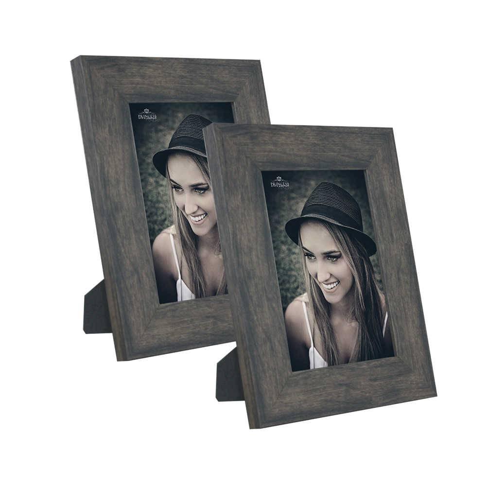 Conjunto de Porta-Retratos Rustic Wood - 2 Peças em Madeira - 19x14,5 cm