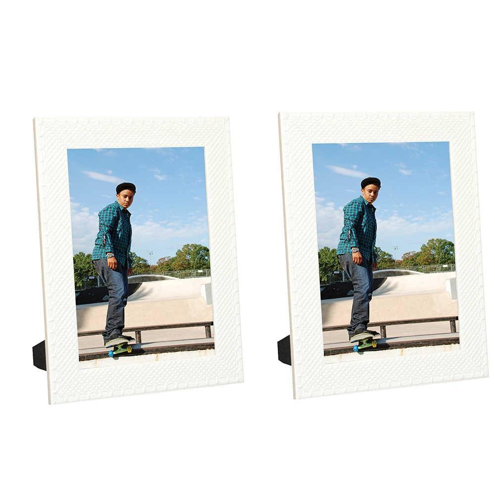 Conjunto de Porta-Retratos Treliça Branco - 2 Peças em Madeira - 21x16 cm
