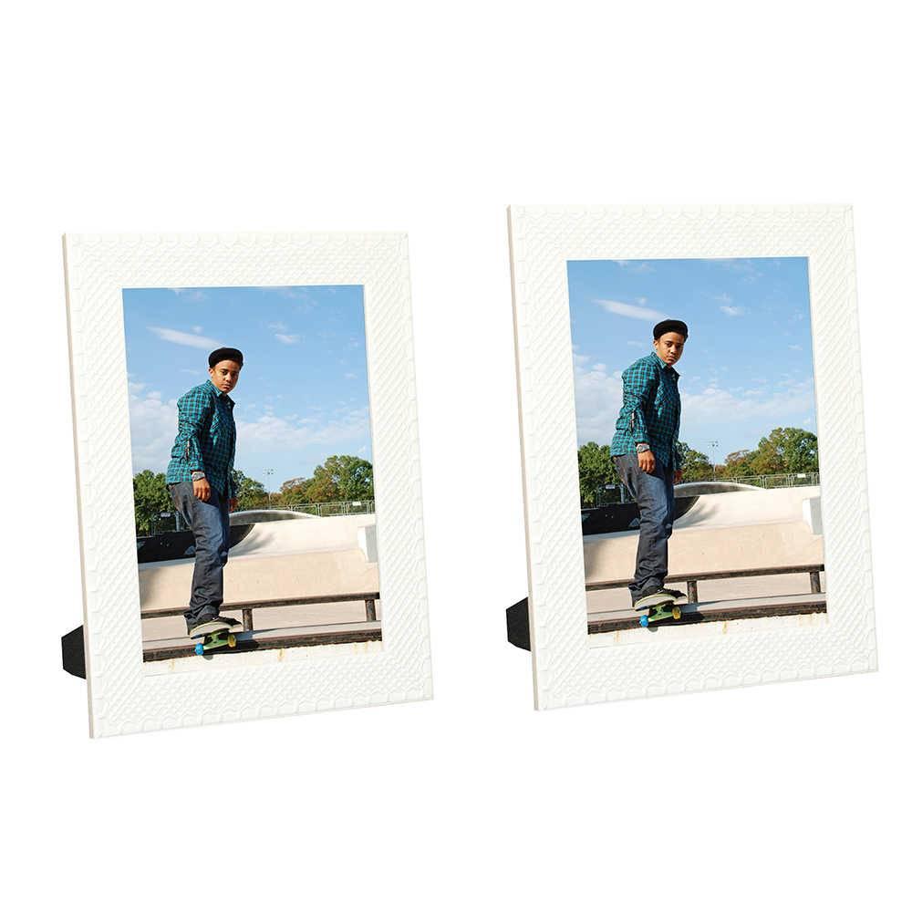 Conjunto de Porta-Retratos Treliça Branco - 2 Peças em Madeira - 23x17 cm