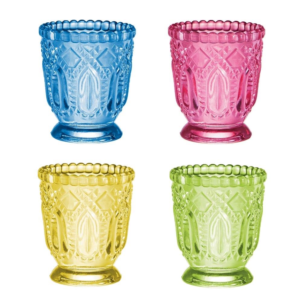 Conjunto Porta-Velas - 4 Peças - Soft Multicoloridos em Vidro - 8x7 cm