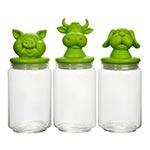 Conjunto de Potes - 3 Peças - Animais Verde em Vidro