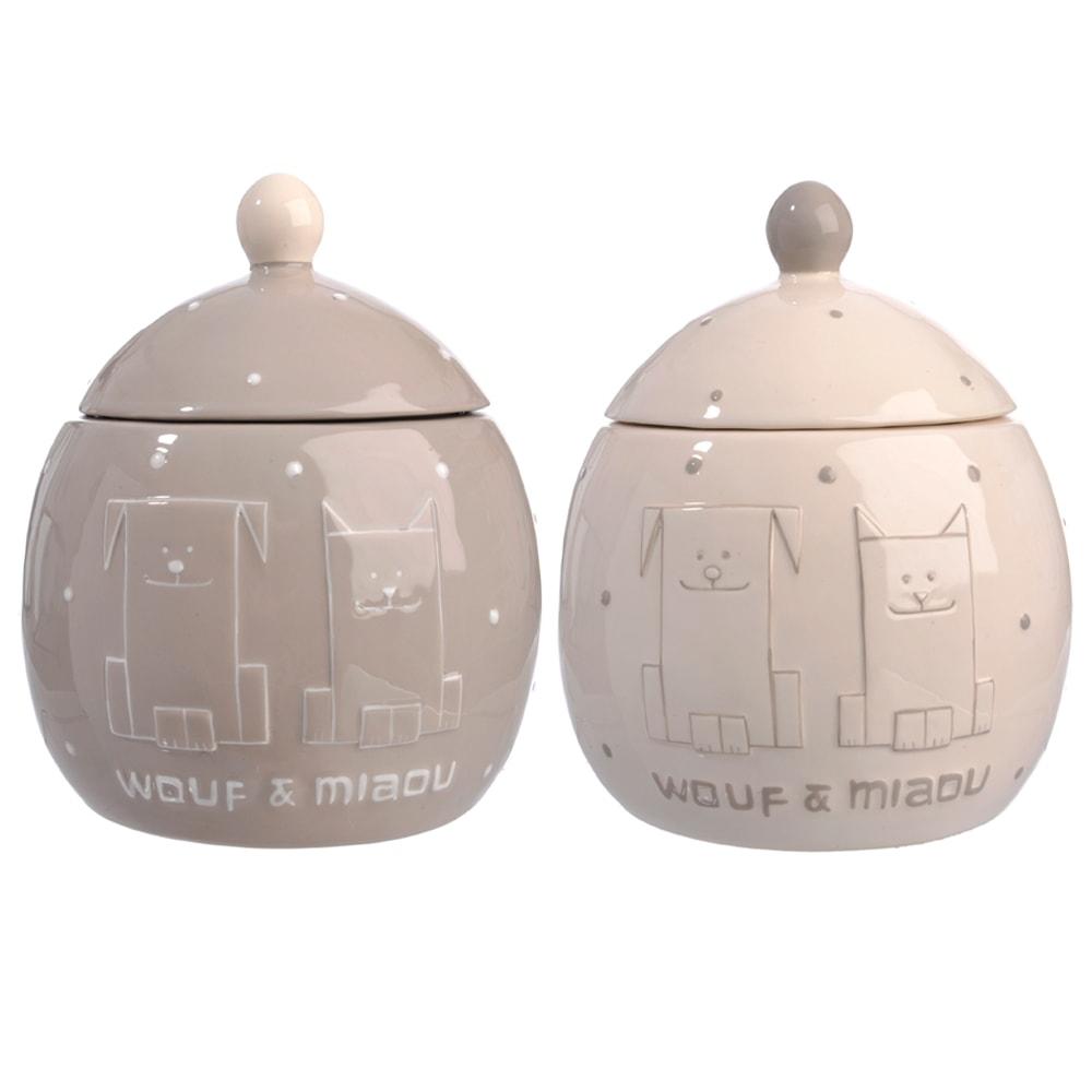 Conjunto de Potes para Doces Cão e Gato Bege em Cerâmica - 17x14 cm