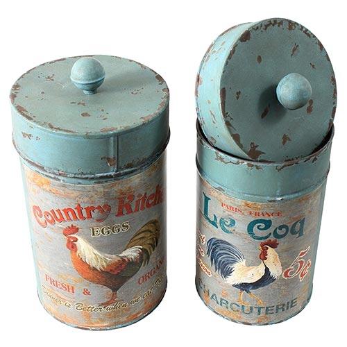 Conjunto de Potes Metálicos Galo Kitchen Oldway - 28x14 cm
