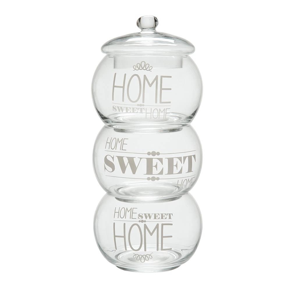 Conjunto de Potes Sweet Home Grande Transparente em Vidro - 36x12 cm