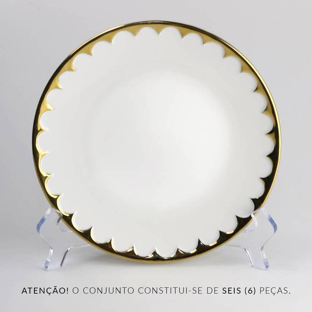 Conjunto de Pratos Delicate - 6 Peças - Branco/Dourado em Porcelana - Wolff - 19 cm