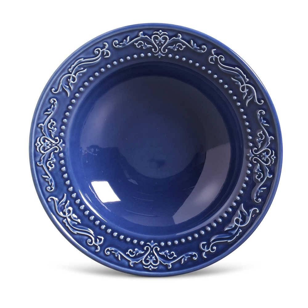Conjunto de Pratos Fundos Acanthus Azul Navy - 6 Peças - em Cerâmica - La Tavola - Porto Brasil - 22x5 cm