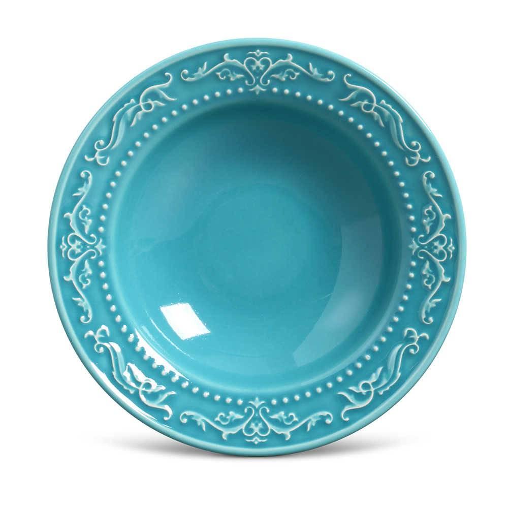 Conjunto de Pratos Fundos Acanthus Azul Poppy - 6 Peças - em Cerâmica - La Tavola - Porto Brasil - 22x5 cm