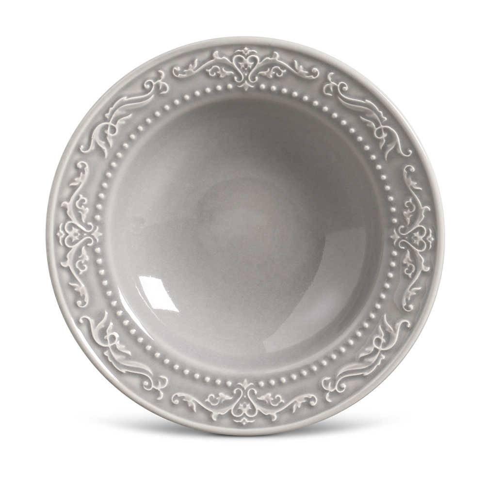 Conjunto de Pratos Fundos Acanthus Cinza Claro - 6 Peças - em Cerâmica - La Tavola - Porto Brasil - 22x5 cm