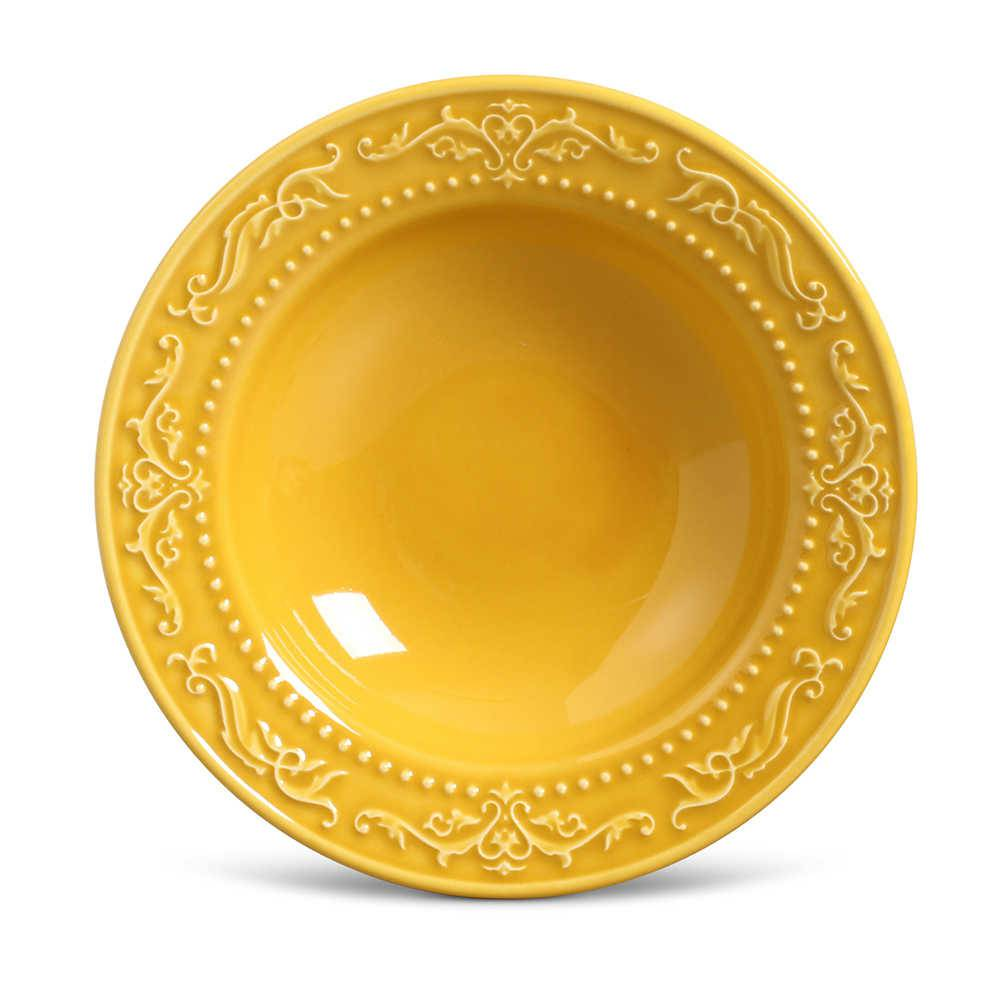 Conjunto de Pratos Fundos Acanthus Mostarda - 6 Peças - em Cerâmica - La Tavola - Porto Brasil - 22x5 cm