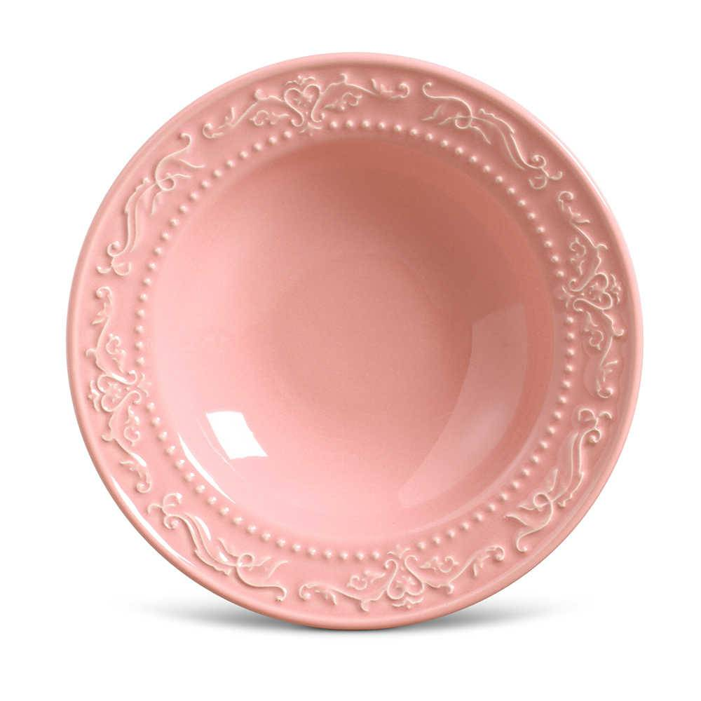 Conjunto de Pratos Fundos Acanthus Rosa - 6 Peças - em Cerâmica - La Tavola - Porto Brasil - 22x5 cm