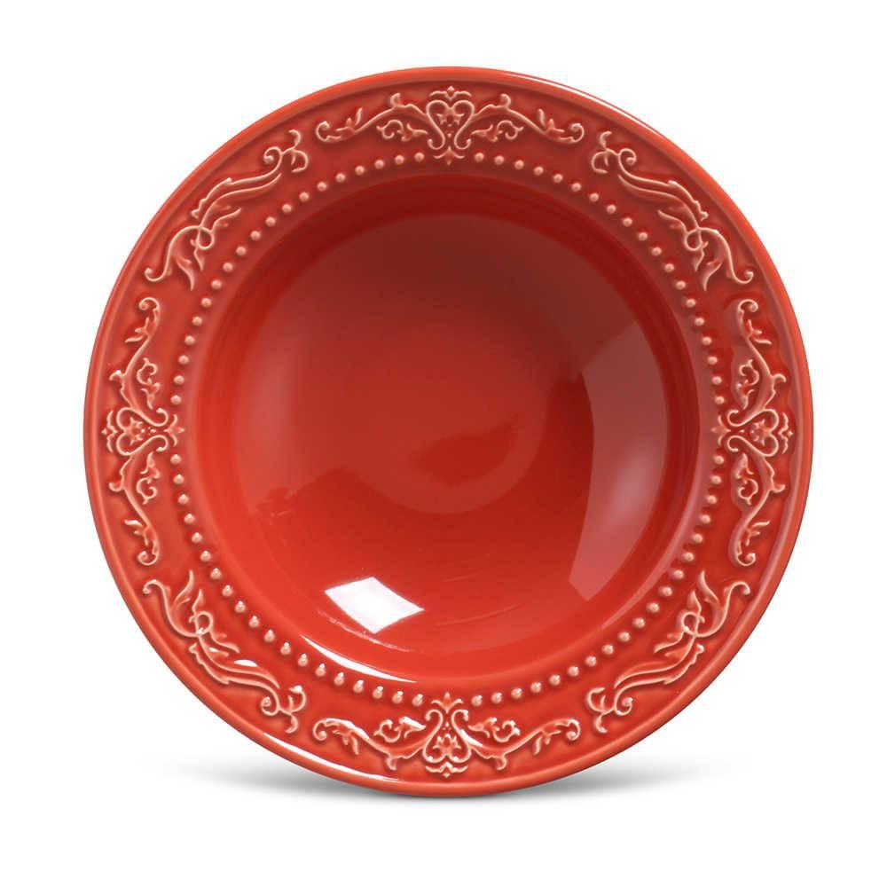 Conjunto de Pratos Fundos Acanthus Vermelho - 6 Peças - em Cerâmica - La Tavola - Porto Brasil - 22x5 cm