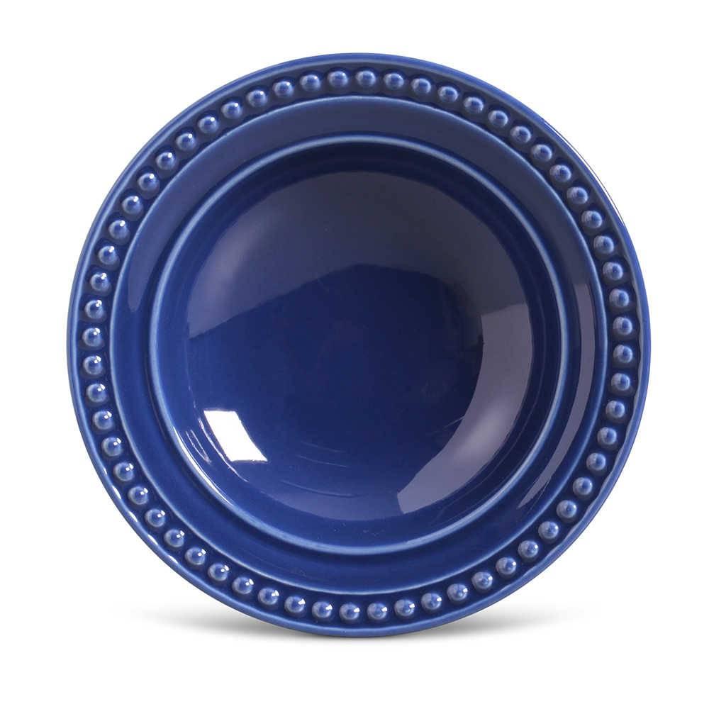 Conjunto de Pratos Fundos Atenas Azul Navy - 6 Peças - em Cerâmica - La Tavola - Porto Brasil - 22x5 cm