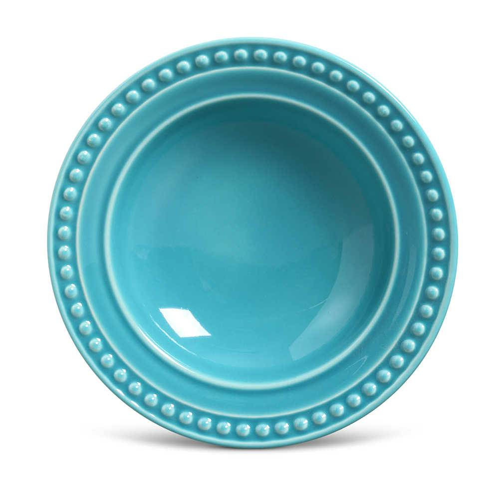 Conjunto de Pratos Fundos Atenas Azul Poppy - 6 Peças - em Cerâmica - La Tavola - Porto Brasil - 22x5 cm